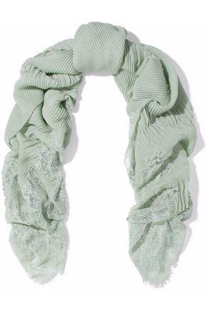 VALENTINO Plissé lace-paneled cashmere scarf