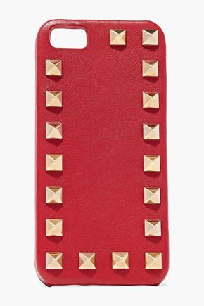 VALENTINO Rockstud textured-leather iPhone 5 case