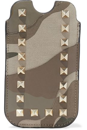 VALENTINO GARAVANI Studded printed canvas and leather iPhone case