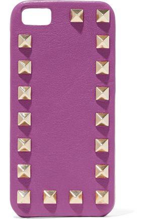 VALENTINO Rockstud textured-leather iPhone 5 case