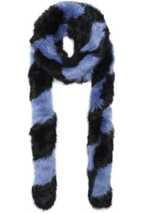 CHARLOTTE SIMONE Striped faux fur scarf