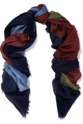 VALENTINO Color-block cashmere and silk-blend gauze scarf