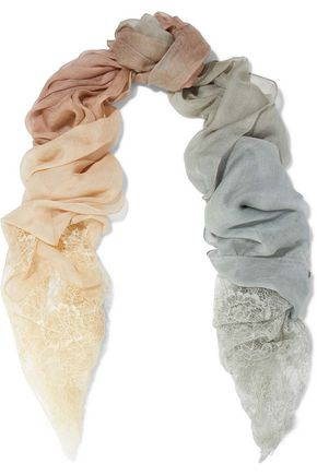VALENTINO Chantilly lace-trimmed dégradé modal and silk-blend scarf