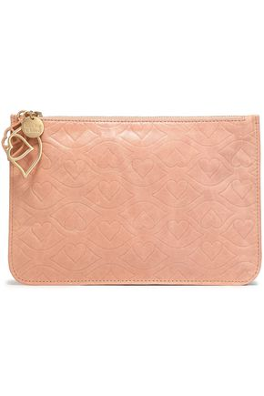 SEE BY CHLOÉ Embossed cracked-leather pouch