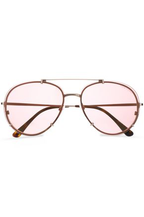 TOM FORD Aviator gold-tone and acetate sunglasses