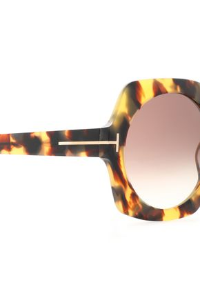 TOM FORD Square-frame tortoiseshell acetate and gold-tone sunglasses