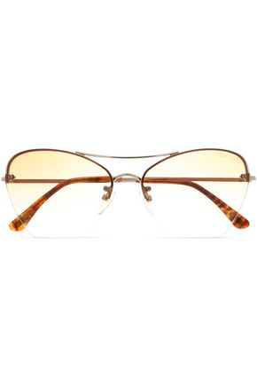 TOM FORD Butterfly-frame gold-tone and acetate sunglasses
