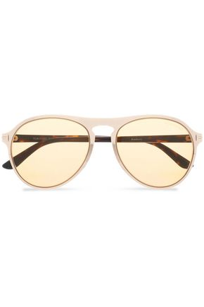 TOM FORD Round-frame gold-tone and tortoiseshell acetate sunglasses