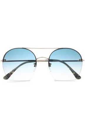 TOM FORD Square-frame gold-tone and acetate sunglasses