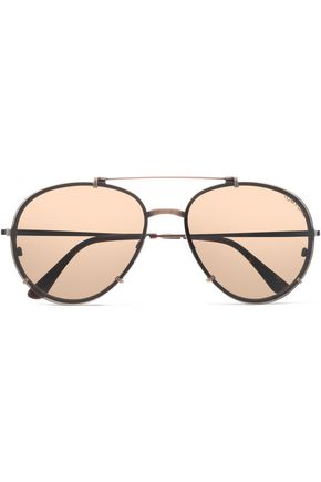 TOM FORD Aviator gold-tone and acetate sunglasses