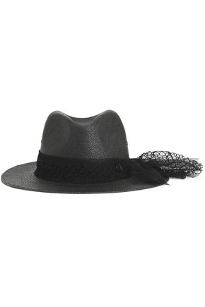 MAISON MICHEL Tulle and net-trimmed straw fedora