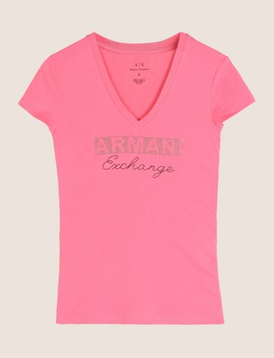 STUDDED AND STITCHED V-NECK TEE