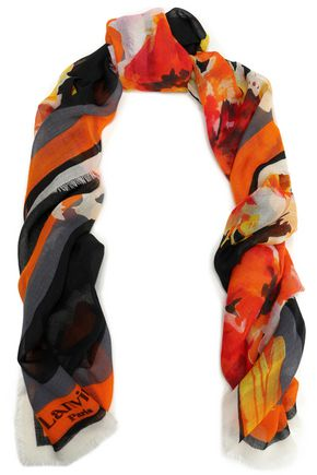 LANVIN Frayed printed cashmere scarf