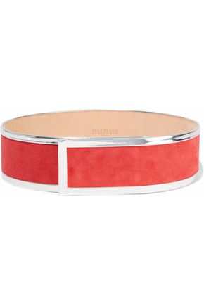 BALMAIN Metallic leather-trimmed suede belt