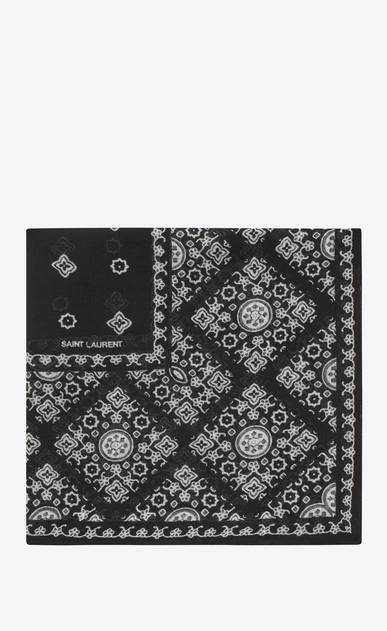 SAINT LAURENT Squared Scarves Woman Scarf with folk print in black and ivory wool muslin a_V4