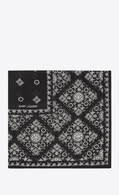 SAINT LAURENT Quadratische Schals Damen Schal mit Folk-Print aus schwarzem und elfenbeinfarbenem Wollmousselin a_V4