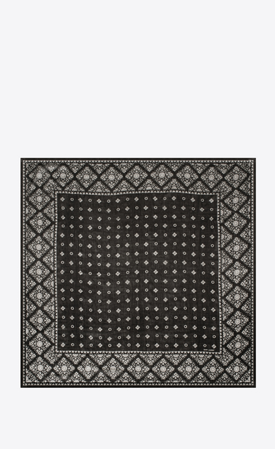SAINT LAURENT Squared Scarves Woman Scarf with folk print in black and ivory wool muslin b_V4