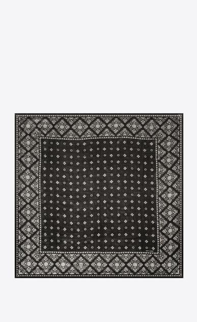 SAINT LAURENT Quadratische Schals Damen Schal mit Folk-Print aus schwarzem und elfenbeinfarbenem Wollmousselin b_V4