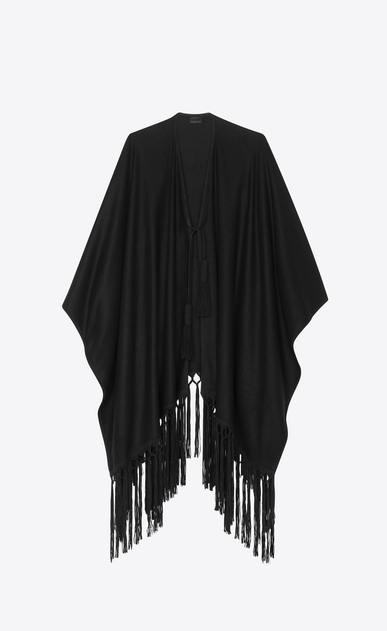 SAINT LAURENT Knitwear Tops Woman Poncho in wool cloth with black suede fringes a_V4