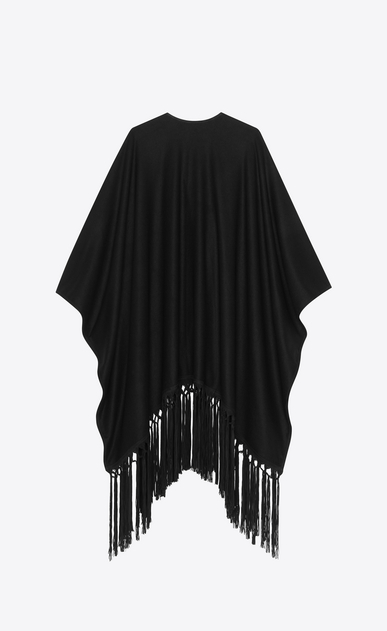 SAINT LAURENT Knitwear Tops Woman Poncho in wool cloth with black suede fringes b_V4