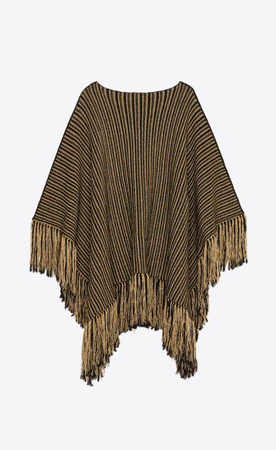 SAINT LAURENT Knitwear Tops Woman Poncho in a black and gold striped knit a_V4
