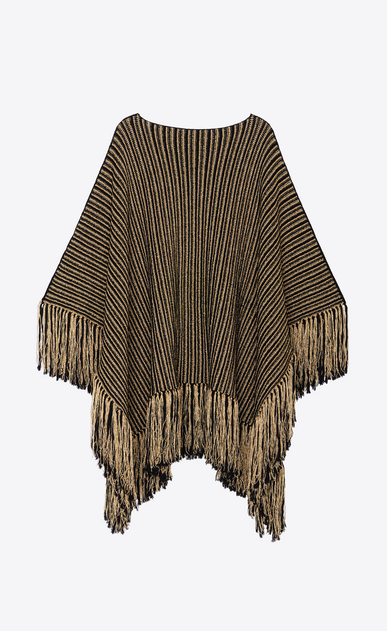 SAINT LAURENT Knitwear Tops Woman Poncho in a black and gold striped knit b_V4