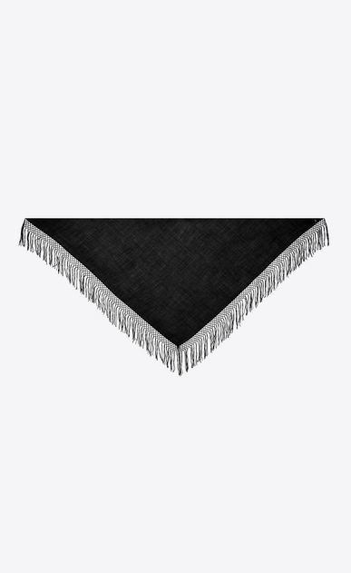 Triangle with black wool twill and macramé fringes