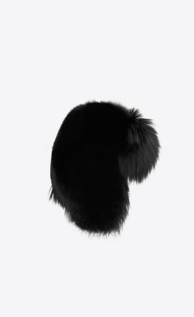 SAINT LAURENT Hats Woman Trapper hat in black fox fur a_V4
