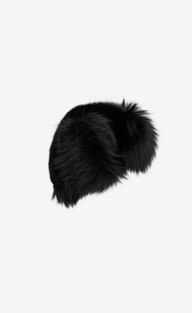 SAINT LAURENT Hats Woman Trapper hat in black fox fur b_V4