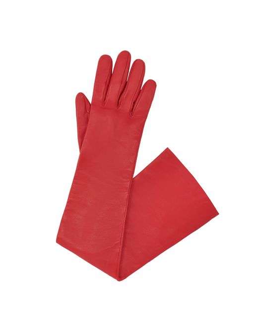 LONG RED LEATHER GLOVES - Lanvin
