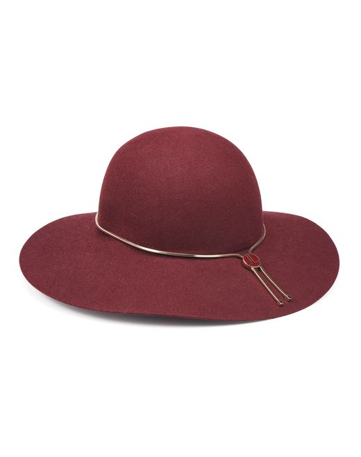BURGUNDY WIDE-BRIMMED HAT - Lanvin