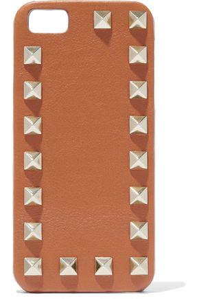 VALENTINO Rockstud textured-leather iPhone case