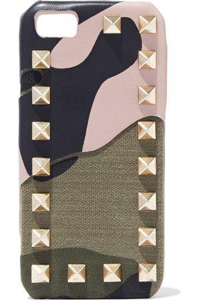 VALENTINO GARAVANI Rockstud printed leather and canvas iPhone 5 case