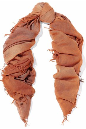 CHAN LUU Dégrad cashmere and silk-blend scarf