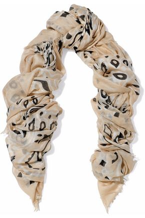 CHAN LUU Frayed printed modal, cashmere and silk-blend gauze scarf