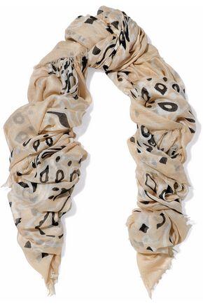 CHAN LUU Frayed printed modal, cashmere and silk-blend gauze scarf