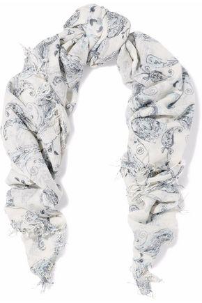 CHAN LUU Fringed printed gauze scarf