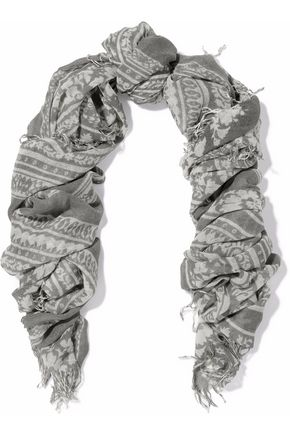CHAN LUU Fringed printed cashmere and silk-blend gauze scarf