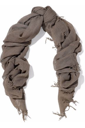 CHAN LUU Fringe-trimmed cashmere and silk-blend gauze scarf