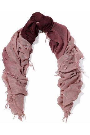 CHAN LUU Fringed dégradé cashmere and silk-blend gauze scarf