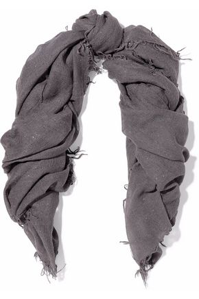 CHAN LUU Fringed metallic cashmere and silk-blend gauze scarf