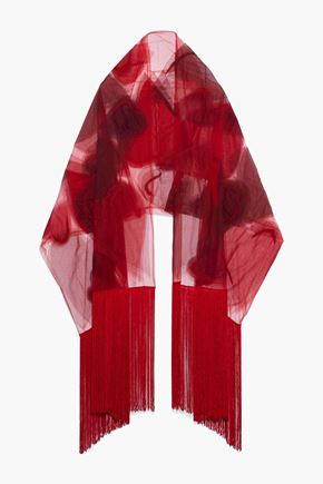 VALENTINO Fringed beaded printed tulle scarf