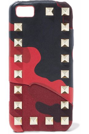 VALENTINO GARAVANI Rockstud printed leather and canvas iPhone 5 case