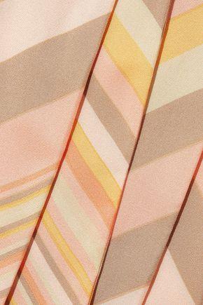 VALENTINO Striped silk-twill scarf