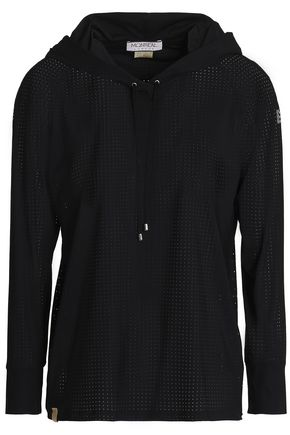 MONREAL LONDON Perforated stretch hooded sweatshirt