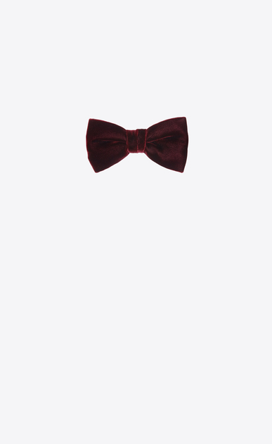 SAINT LAURENT Bow Ties Man YVES bow tie in burgundy velvet a_V4