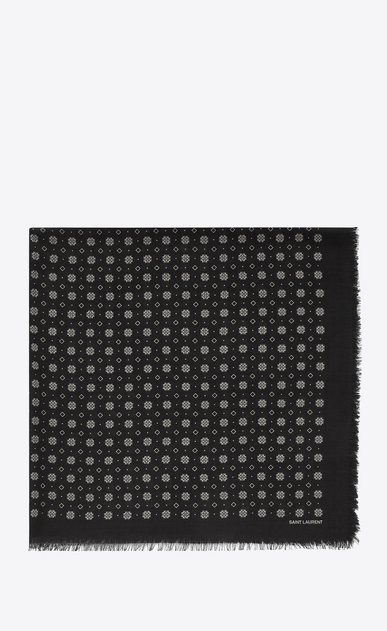 SAINT LAURENT Squared Scarves Man Scarf with small stained glass window print in black and ivory wool twill a_V4