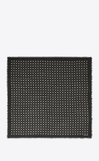 SAINT LAURENT Squared Scarves Man Scarf with small stained glass window print in black and ivory wool twill b_V4