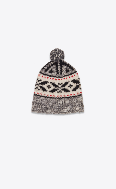 SAINT LAURENT Hats Man Mountain beanie with pompom in black, ivory and red knit a_V4