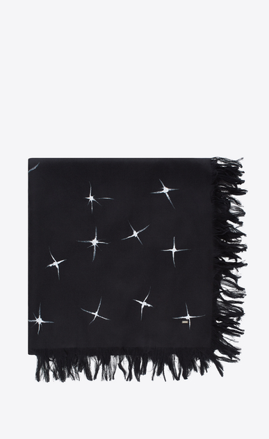 SAINT LAURENT Squared Scarves Man Scarf with shooting star print in black and ivory spun silk a_V4
